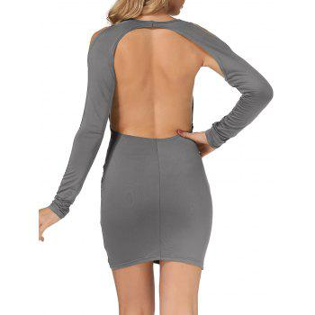Cold Shoulder Open Back Bodycon Party Bandage Dress - GRAY L