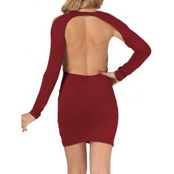 Cold Shoulder Open Back Bodycon Party Bandage Dress - BURGUNDY M