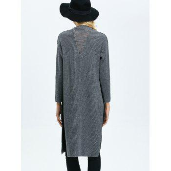Ripped High Slit Pullover Sweater - DEEP GRAY L