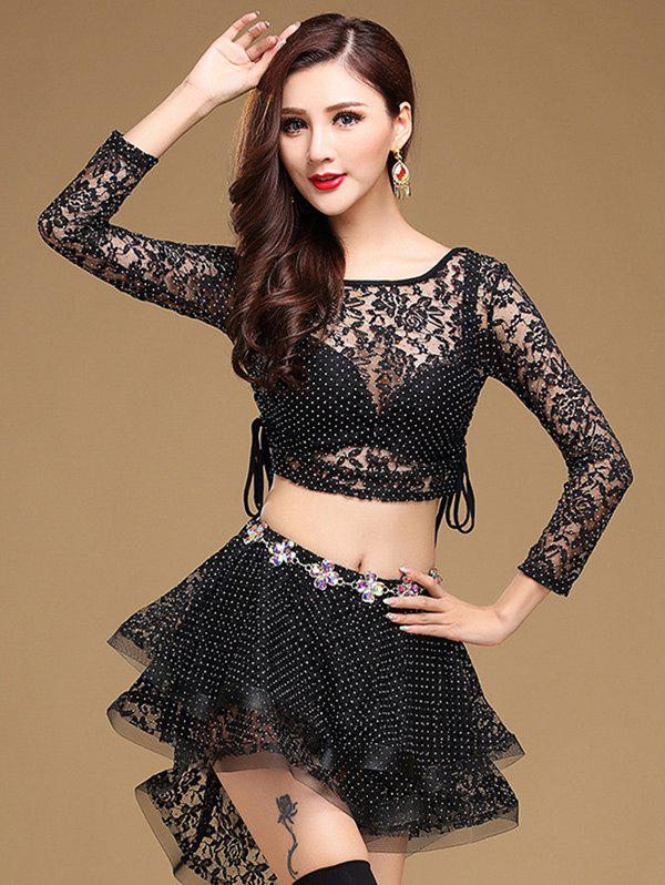 Lace Long Sleeve Top With Layered Skirt - BLACK L