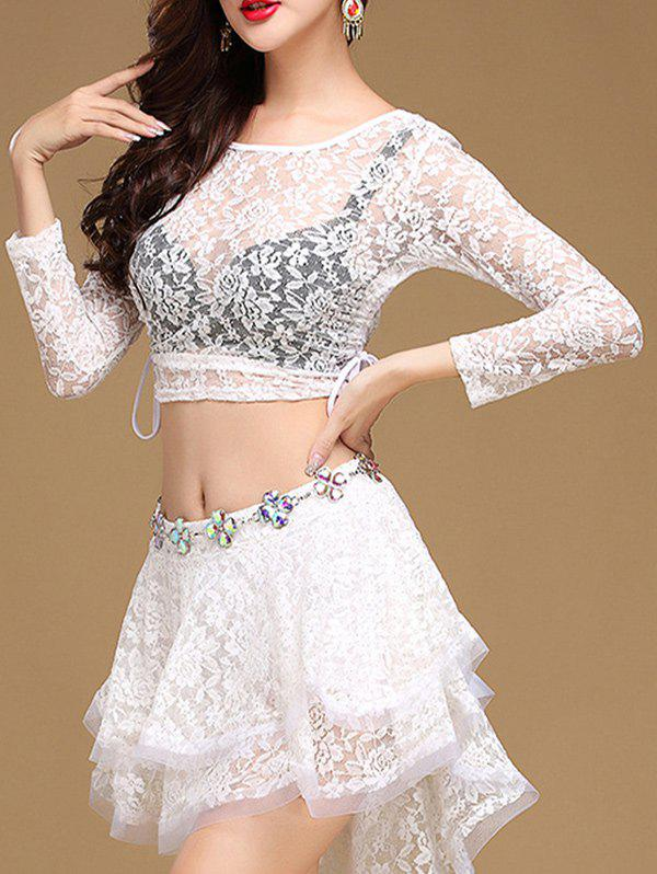 Lace Long Sleeve Top With Layered Skirt - WHITE L
