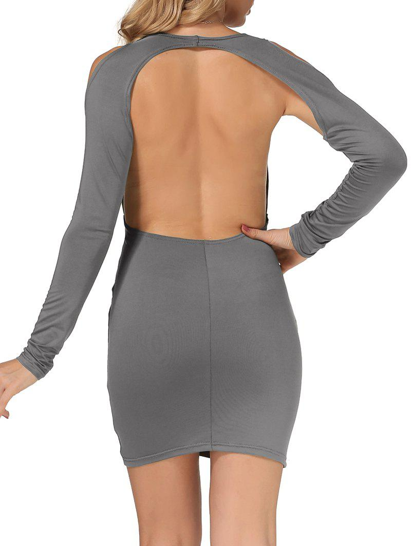 Cold Shoulder dos ouvert Robe moulante - gris M
