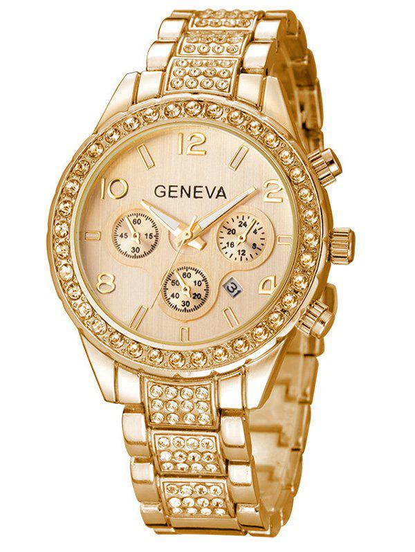 Metal Rhinestone Quartz Wrist Watch - GOLDEN