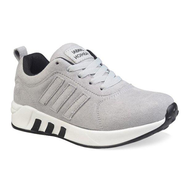 Stitching Tie Up Suede Athletic Shoes - LIGHT GRAY 38