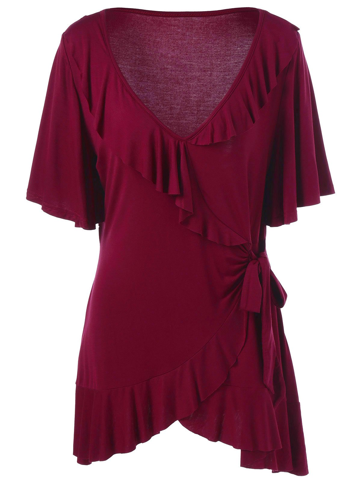 Asymmetric Plus Size Ruffled T-Shirt - DEEP RED XL