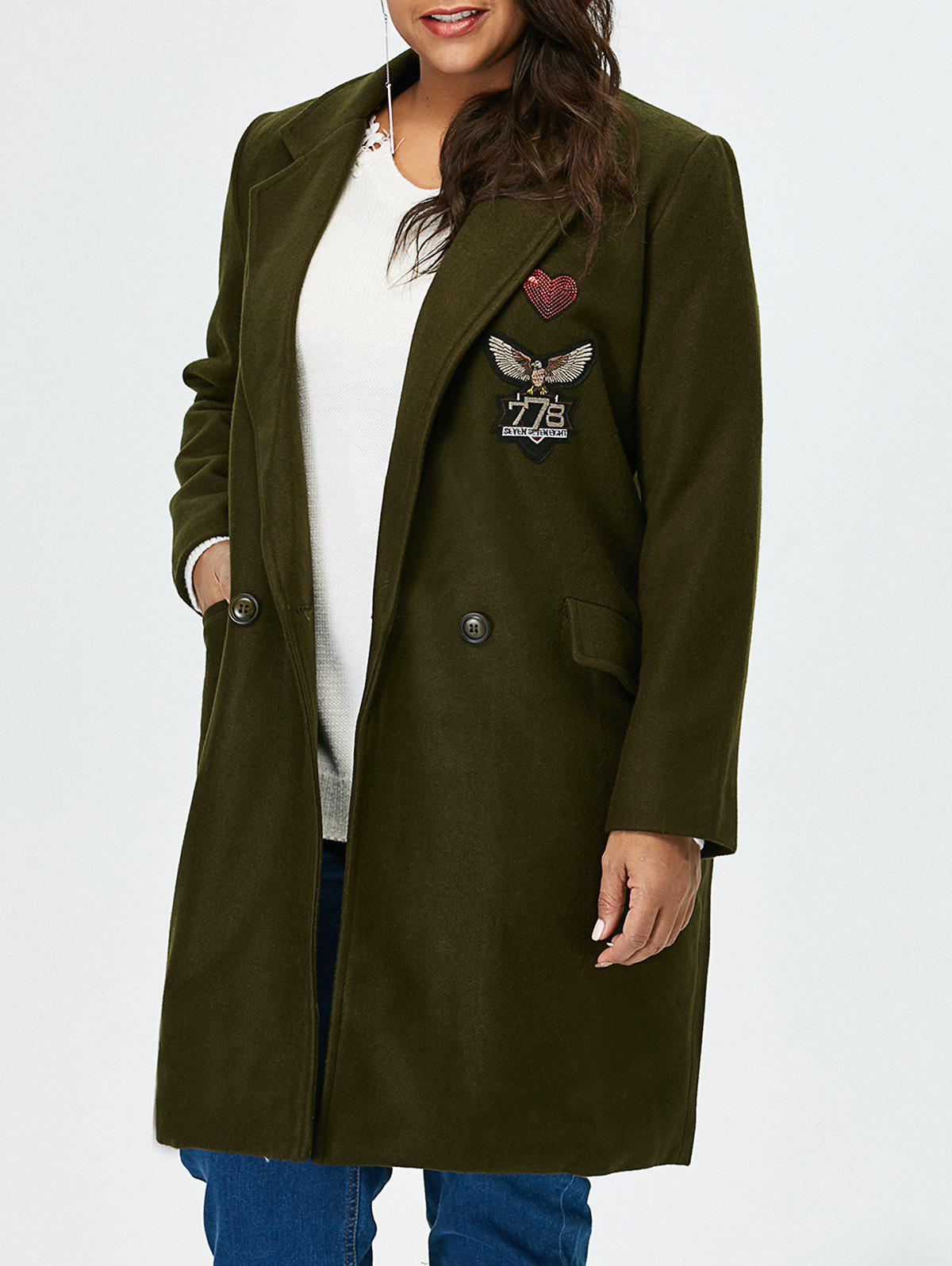 Plus-size manteau long à palangre d'autocollants - RAL Olive Jaune 3XL