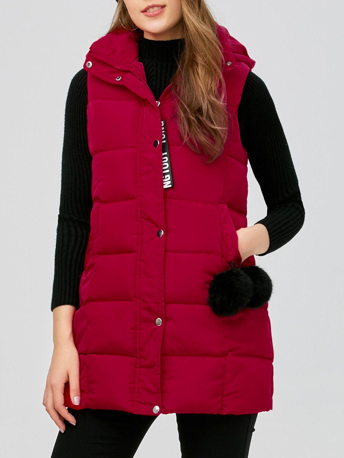 Zip Fly Long Hooded Down Vest - RED M