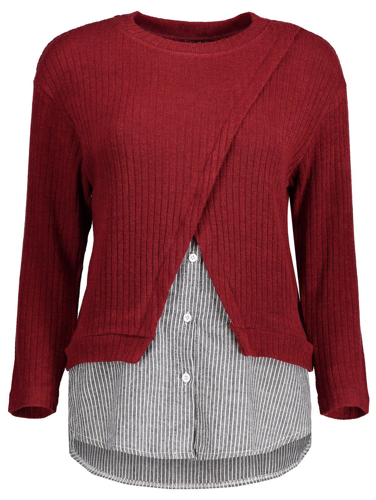 Plus Size Striped Trim Knitwear - RED XL