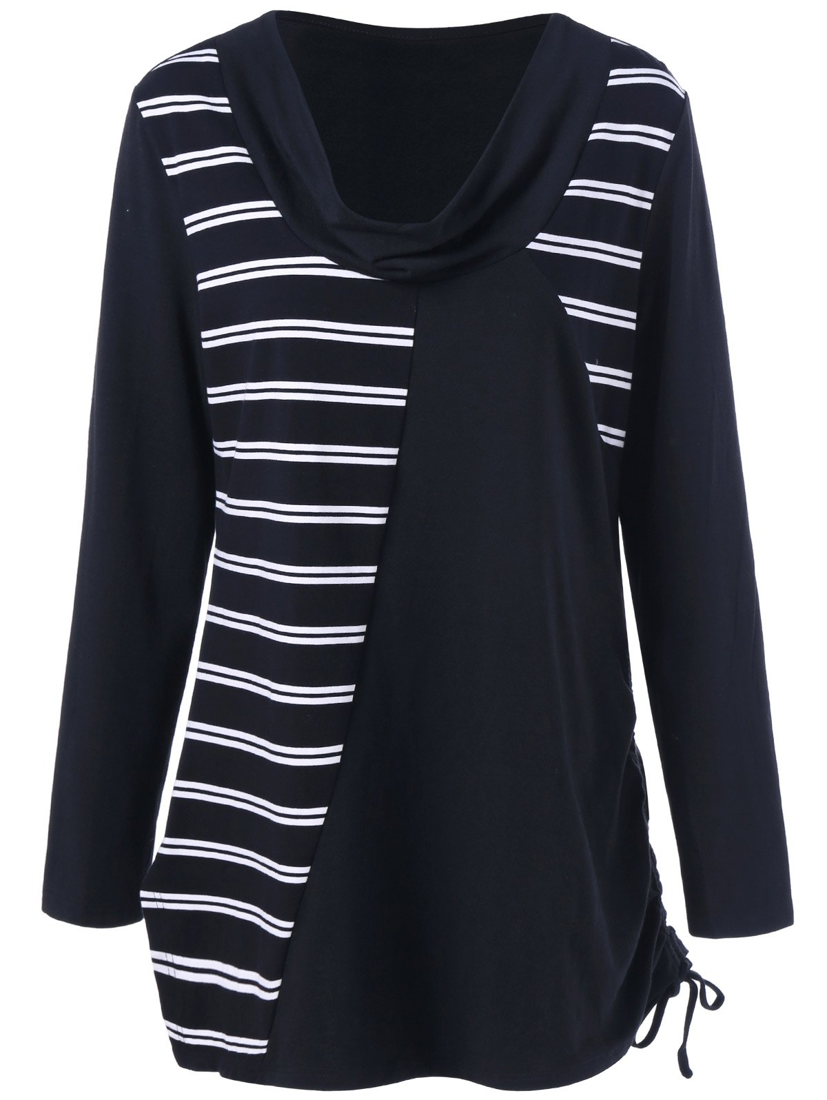 Plus Size Cowl Neck Striped Tunic T-ShirtWomen<br><br><br>Size: 5XL<br>Color: WHITE AND BLACK