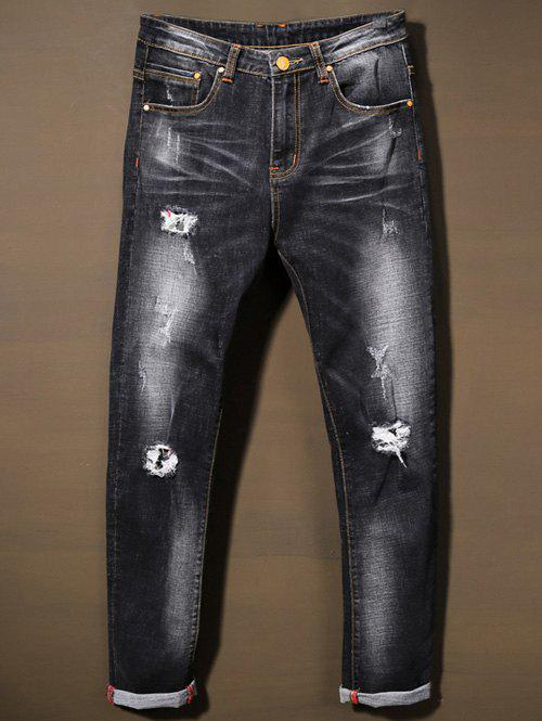 Cat' s Whisker Bleach Wash Distressed Jeans