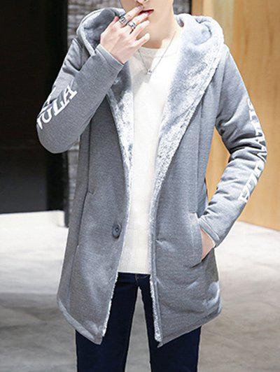 Buttoned Graphic Printed Flocking Hooded Coat graphic flocking mens hoodie