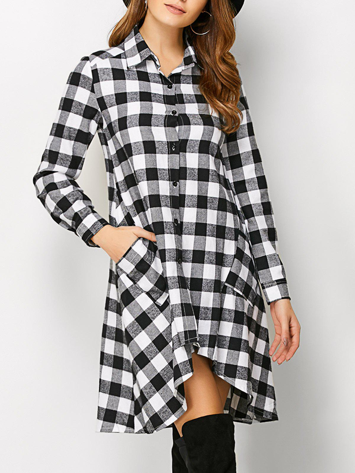 Long Sleeve Plaid High Low Flannel Shirt Dress - WHITE S