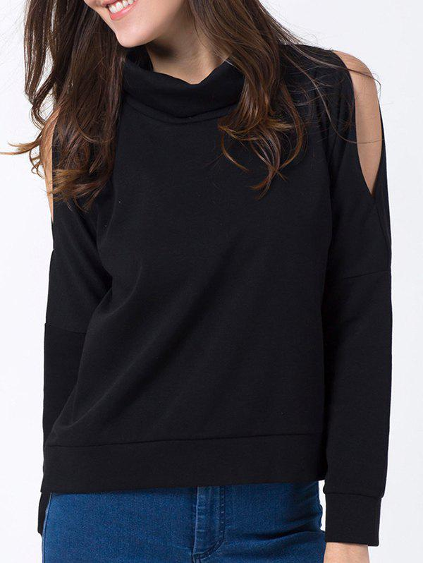 Cold Shoulder Turtle Neck SweatshirtWomen<br><br><br>Size: M<br>Color: BLACK