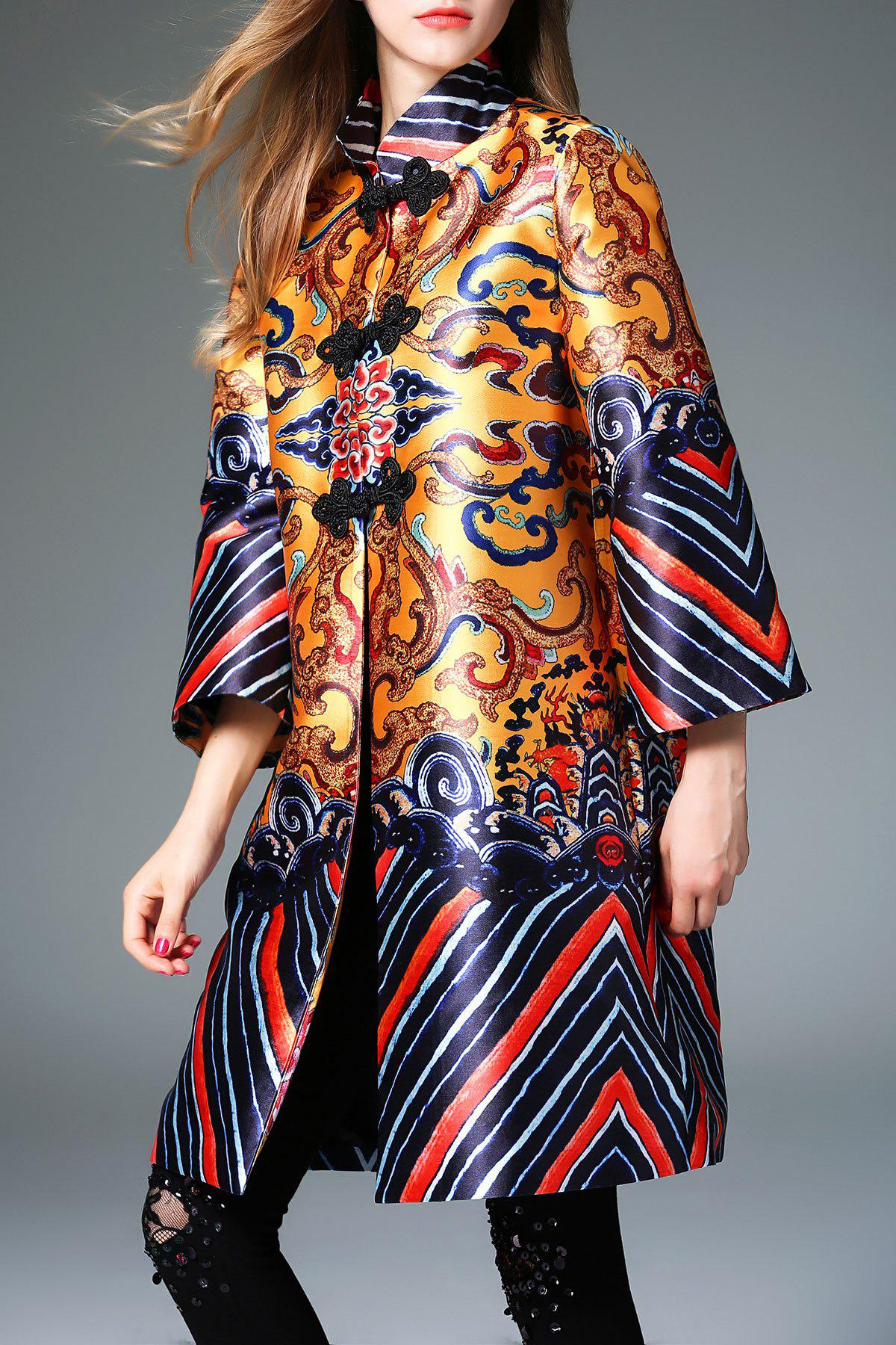 Mandarin Collar Print Chinese Trapeze CoatWomen<br><br><br>Size: S<br>Color: COLORMIX