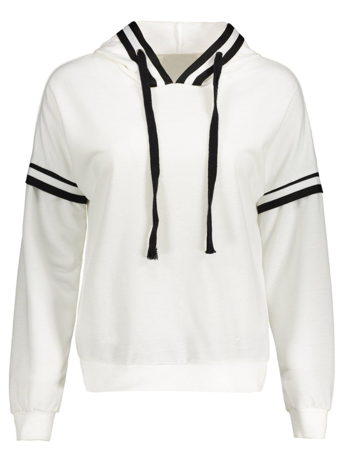 Plus Size Drawstring Insert HoodieWomen<br><br><br>Size: 2XL<br>Color: WHITE