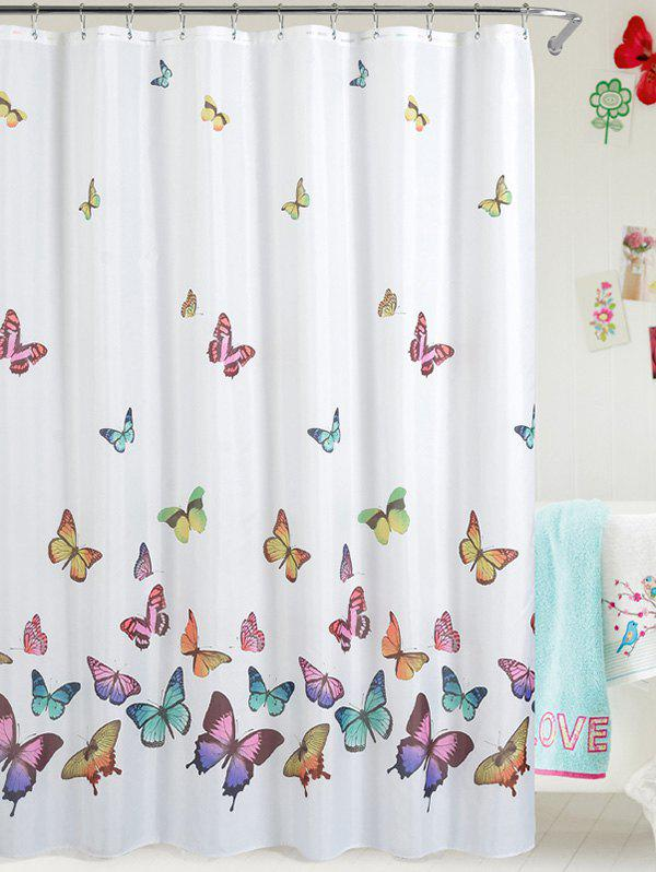 Butterfly Print Polyester Waterproof Bathroom CurtainHome<br><br><br>Color: WHITE