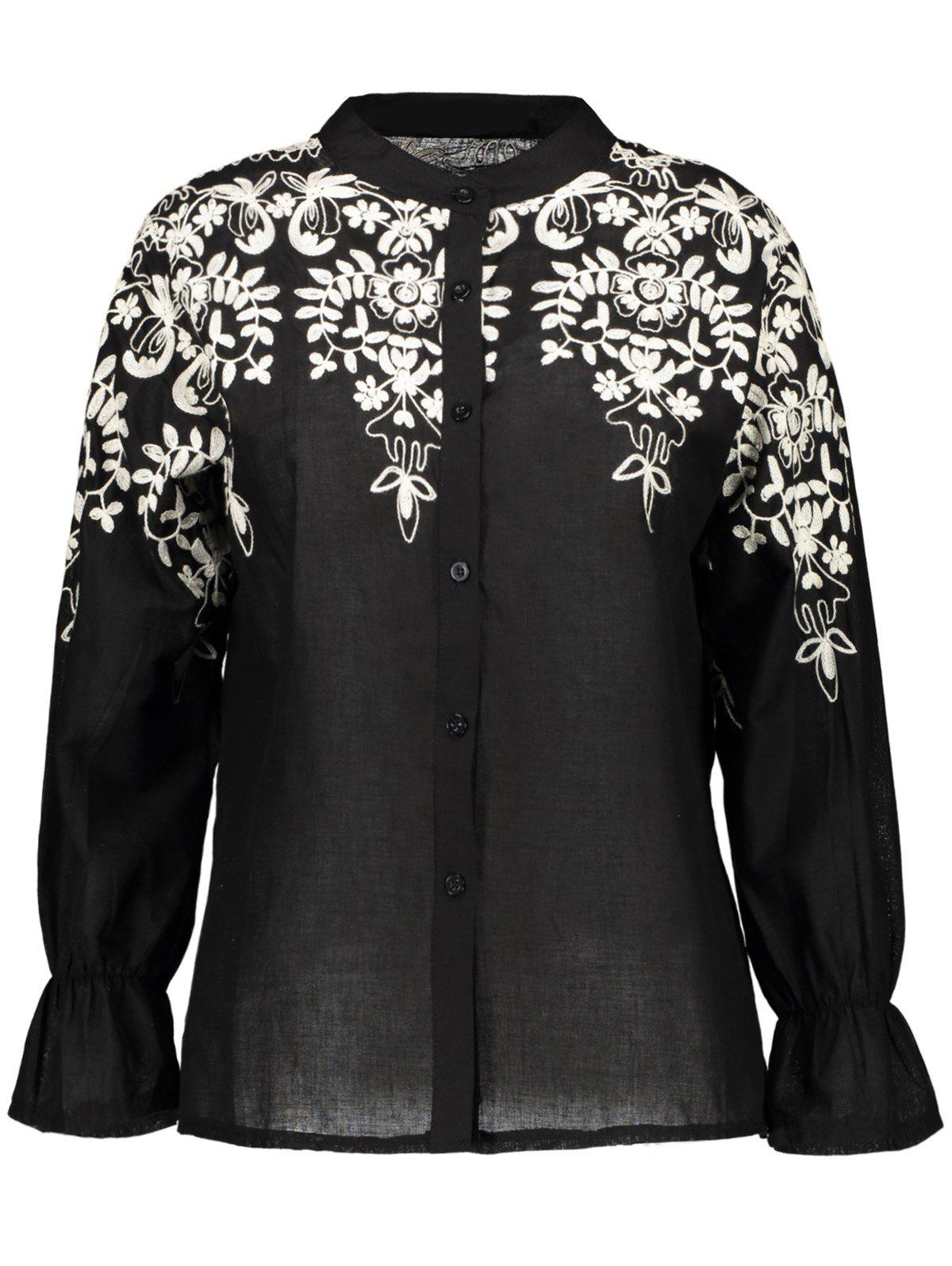 Flare Sleeve Plus Size Embroidered ShirtWomen<br><br><br>Size: 4XL<br>Color: BLACK