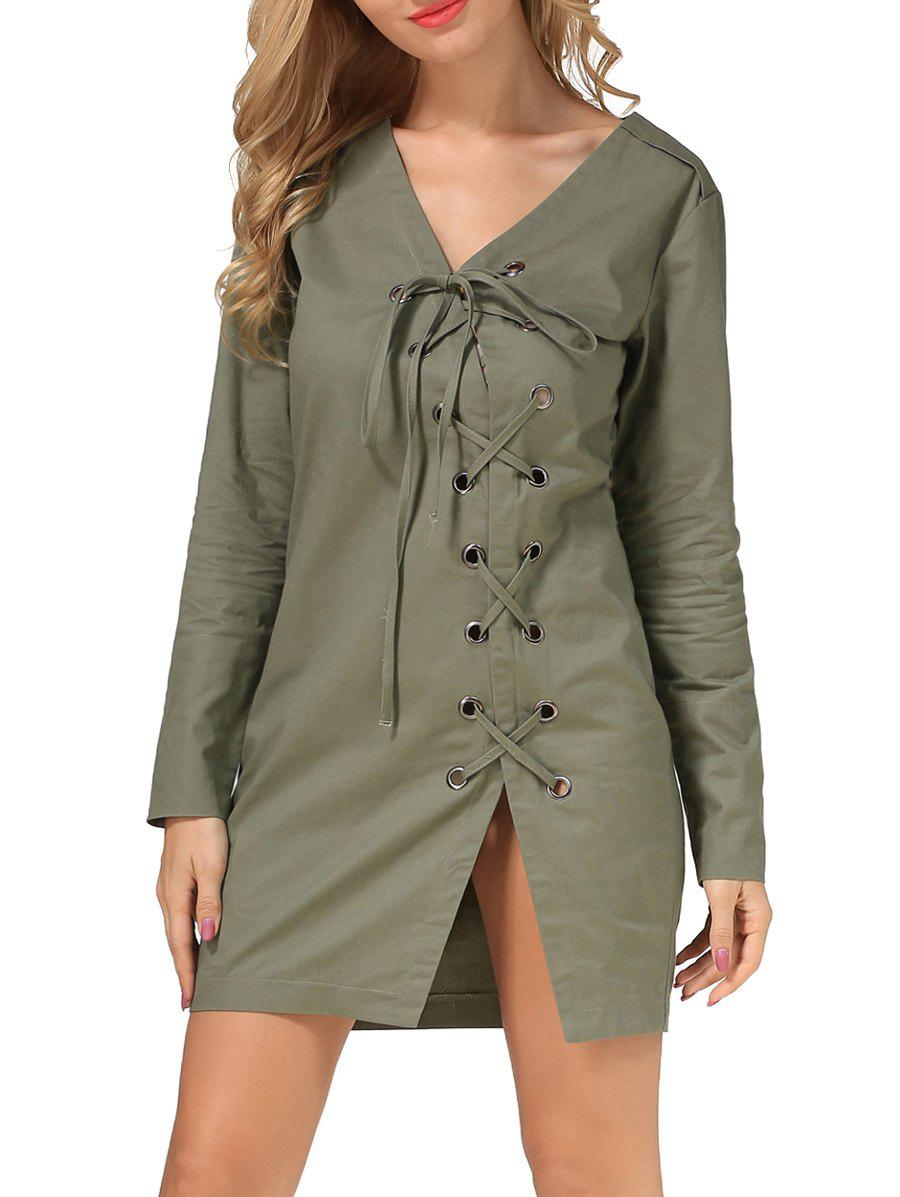 V Neck Lace Up DressWomen<br><br><br>Size: S<br>Color: ARMY GREEN