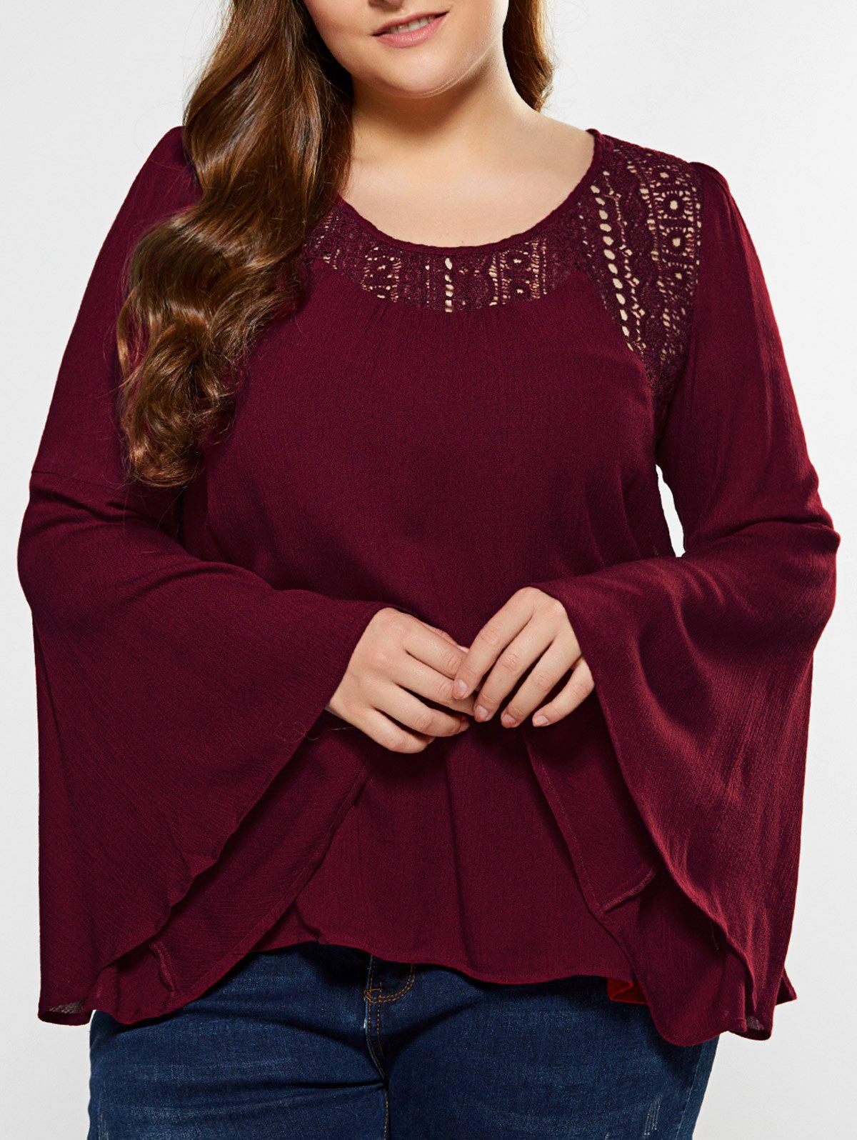 Plus Size Lace Panel Bell Sleeves BlouseWomen<br><br><br>Size: 5XL<br>Color: WINE RED
