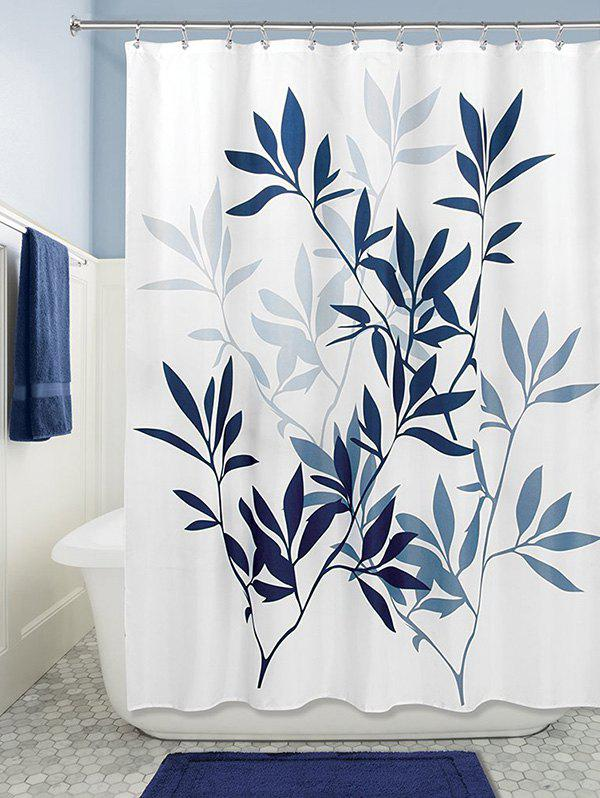 Leaf Print Polyester Waterproof Bathroom Curtain - DEEP BLUE