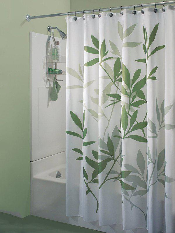 Leaf Print Polyester Waterproof Bathroom Curtain - GREEN