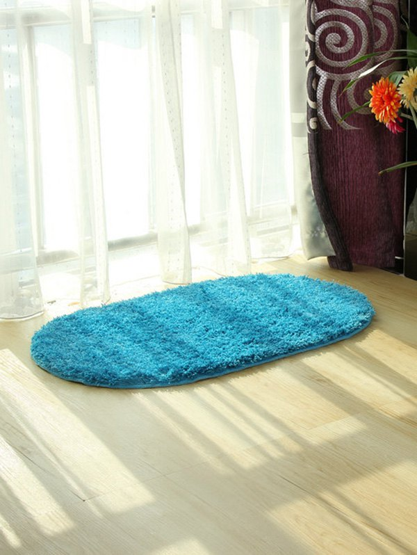 Polyester Fabric Soft Absorbent Antislip Bathroom Carpet - LAKE BLUE