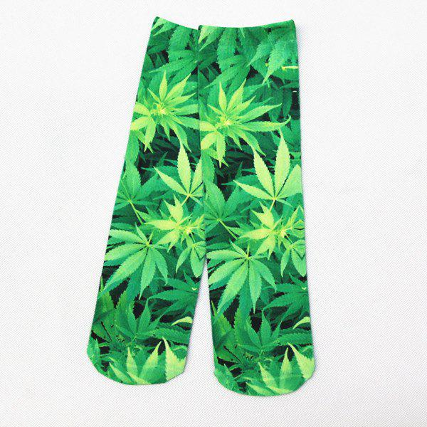 3D Hemp Leaf Print Crazy Socks - GREEN