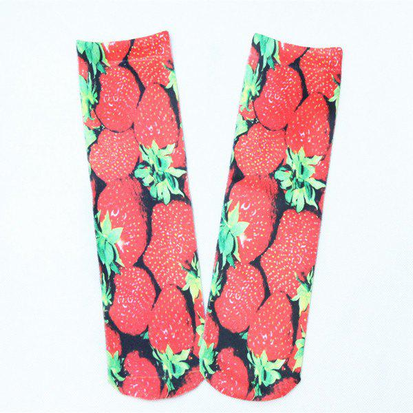 3D Strawberry Print Crazy Socks strawberry print card sleeve