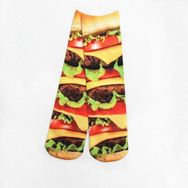 3D Meat Hamburg Print Crazy Socks - YELLOW