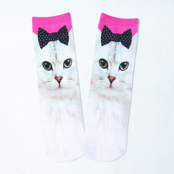 3D Bowknot Cat Print Crazy Socks - WHITE