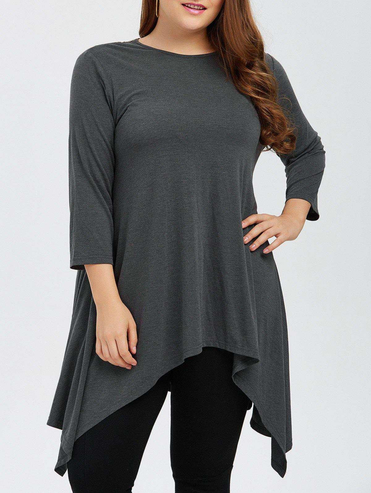 Plus Size Lace Insert Asymmetric Longline T-Shirt - GRAY XL
