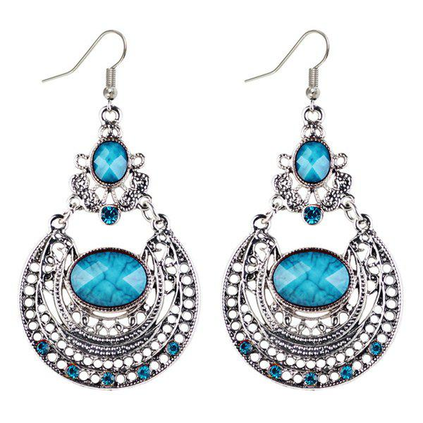 Oval Faux Gem Hollowed Drop Earrings floral garland hollowed waterdrop faux pearl drop earrings