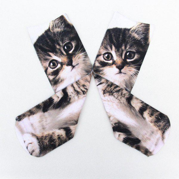 3D Little Cat Print Crazy Socks - DEEP GRAY