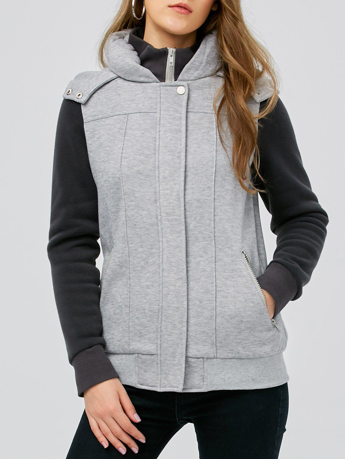 Hooded Two Tone CoatWomen<br><br><br>Size: M<br>Color: BLACK AND GREY