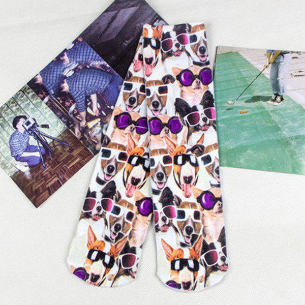 3D Wear Glasses Dogs Print Crazy Socks - COLORMIX