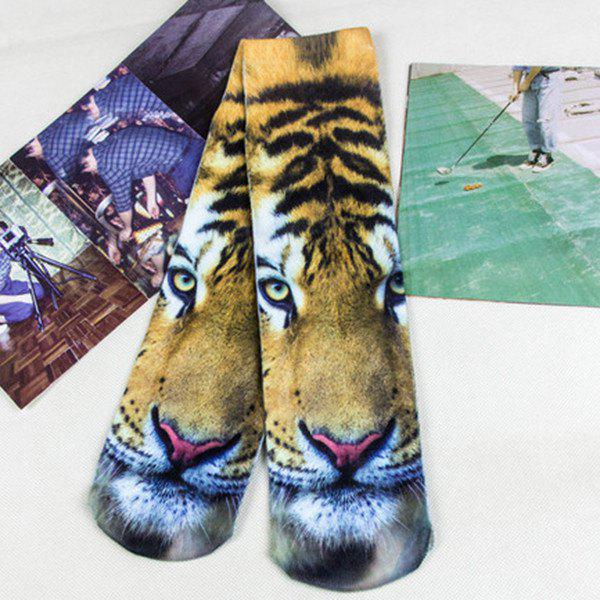 3D Tiger Head Print Crazy Socks - LIGHT BROWN