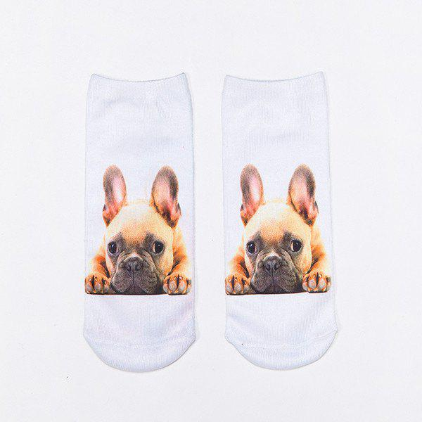 3D French Bulldog Print Crazy Socks - WHITE