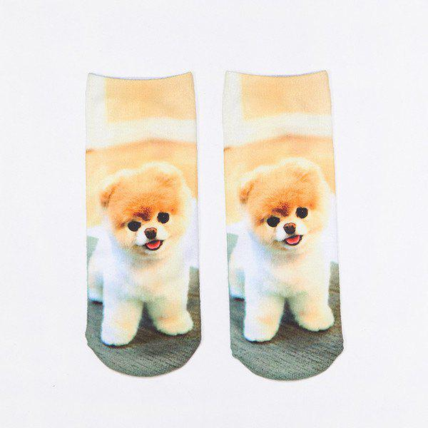 3D Little Pomeranian Print Crazy Socks
