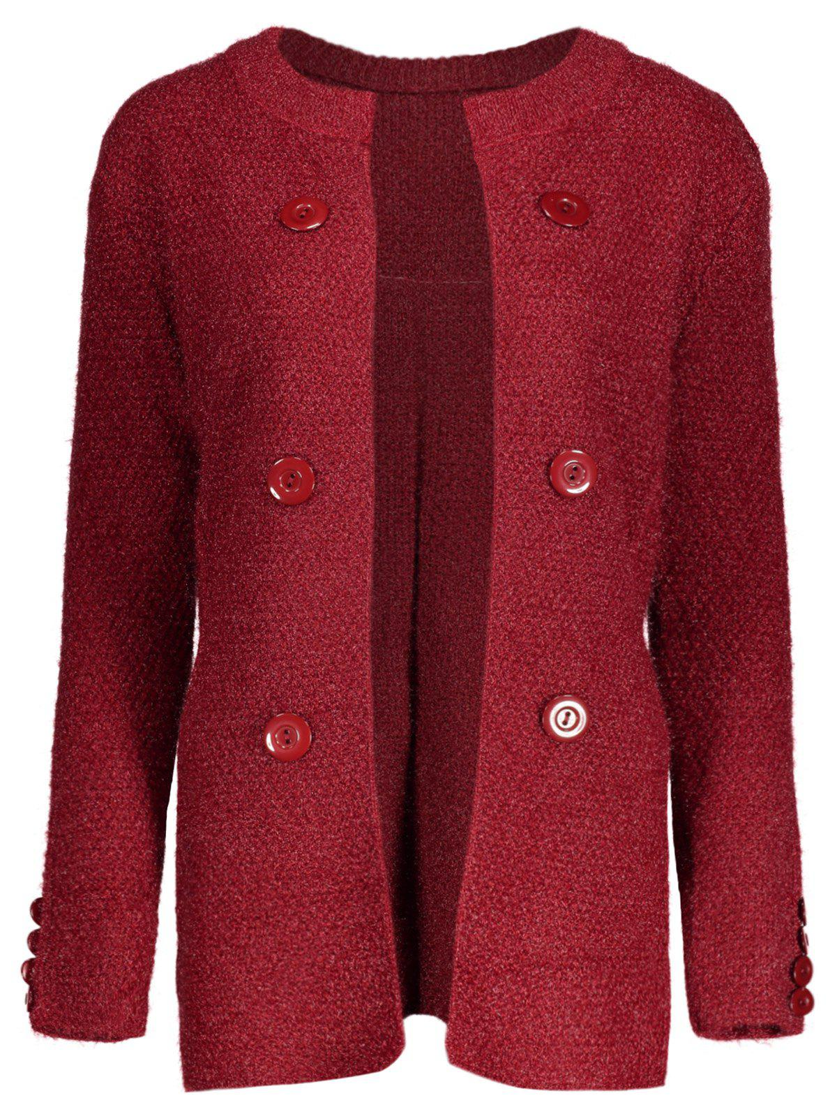Button Long Chunky Cardigan, DEEP RED, ONE SIZE in Sweaters ...