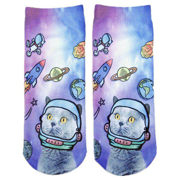 Cartoon Space Cat Print Crazy Socks - COLORMIX