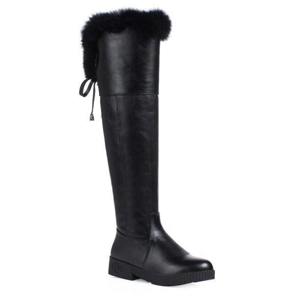 Faux Fur  Thigh High PU Leather BootsShoes<br><br><br>Size: 39<br>Color: BLACK