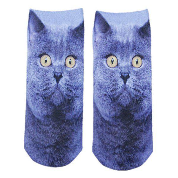 3D Curious Cat Print Crazy Socks - BLUE GRAY