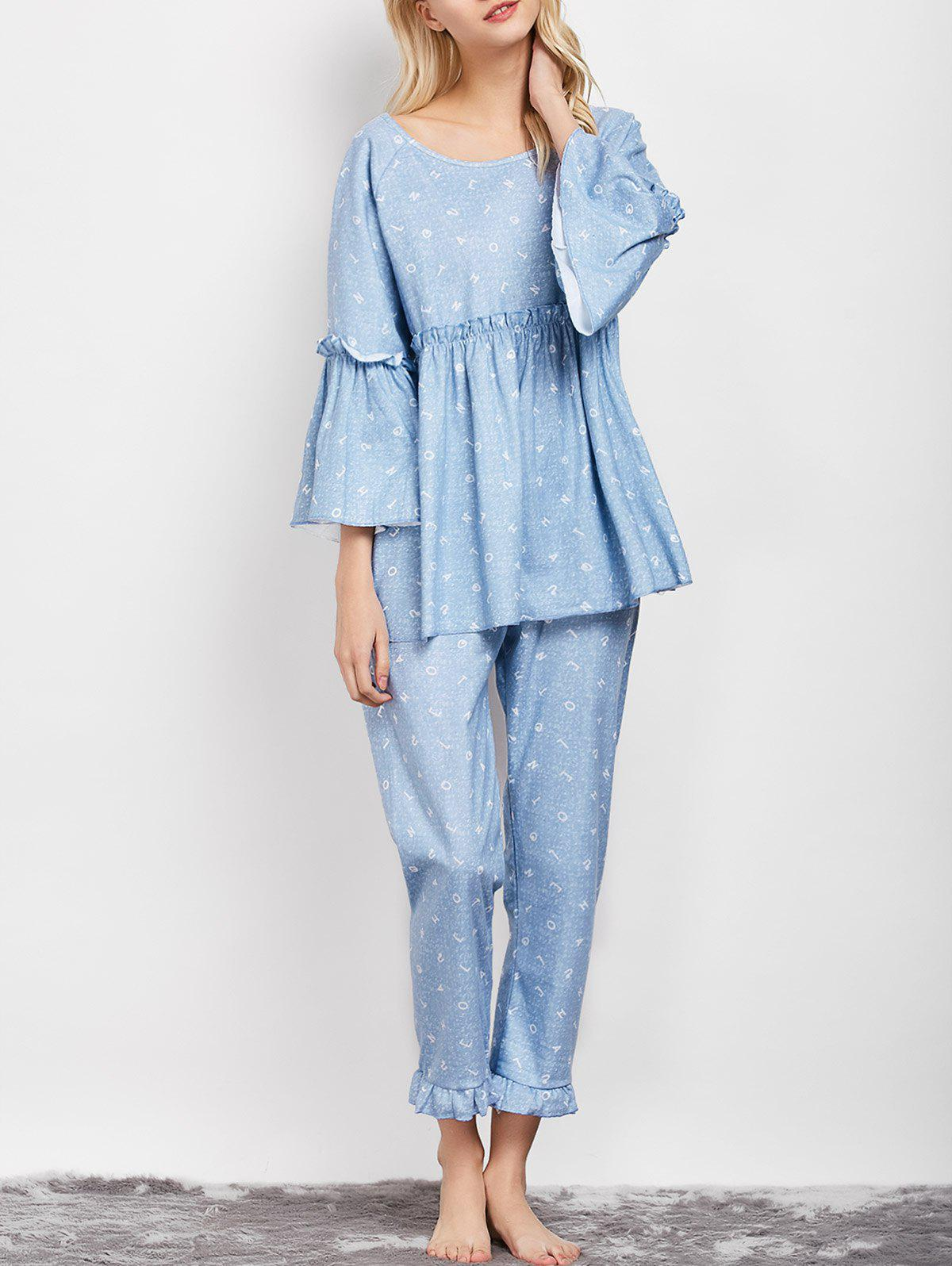 Ruffles Smock Flare Sleeve Sleepwear Sets - LIGHT BLUE XL