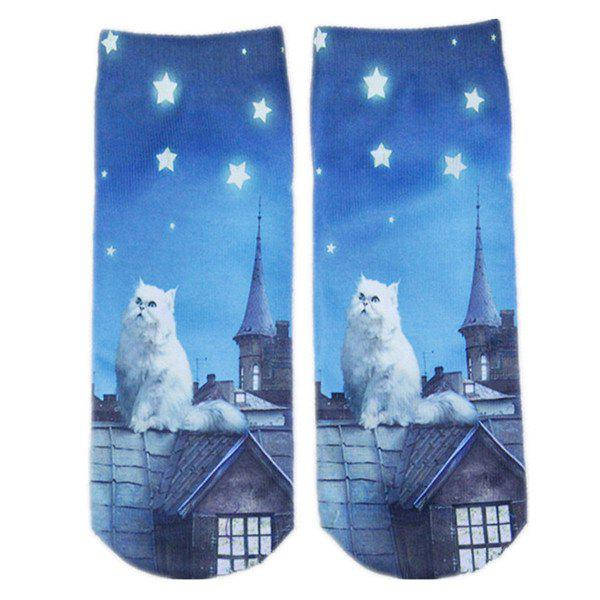Cartoon Rooftop Cat Print Crazy Socks - BLUE