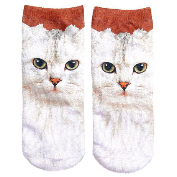 3D Cat Print Crazy Socks - WHITE