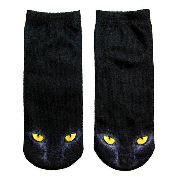 3D Black Cat Print Crazy Socks - BLACK