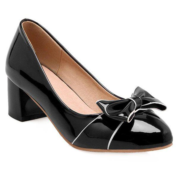 Patent Leather Chunky Heel Bowknot Pumps - BLACK 38