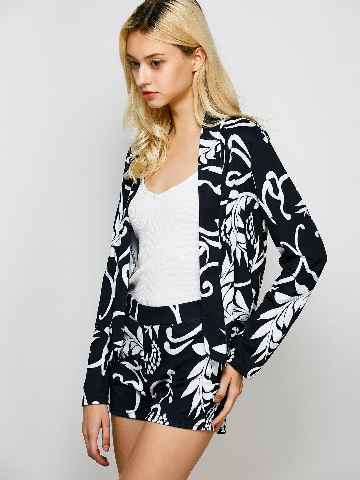 Open Front Printed Blazer and Shorts - BLACK XL