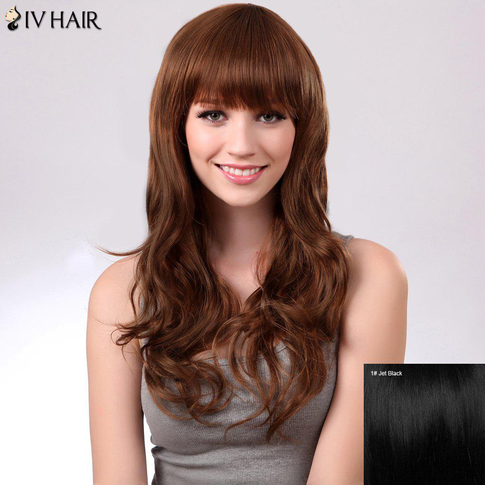 Full Bang Long Fluffy Natural Wavy Siv Human Hair Wig - JET BLACK