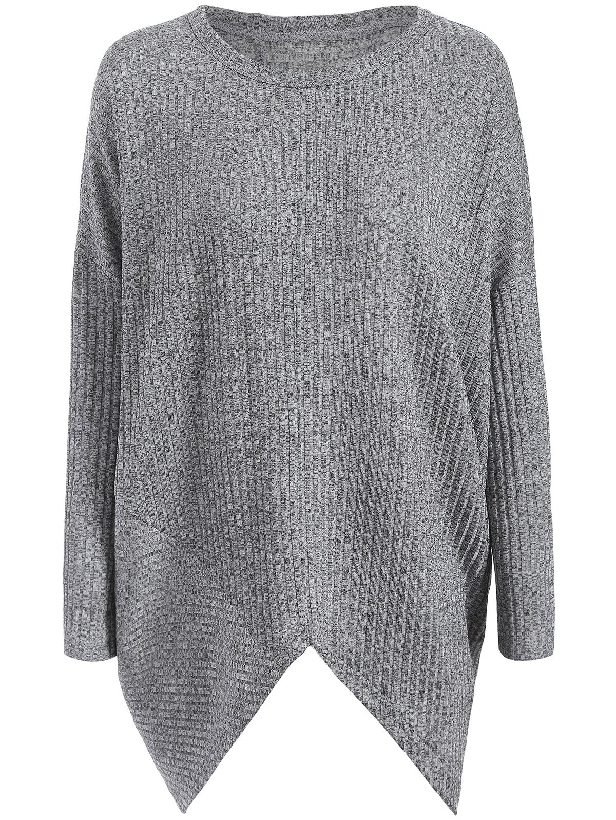 Asymmetrical Ribbed Plus Size Crew Neck Sweater free people new gray women s size medium m ribbed cowl neck sweater $128 035